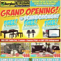 Surplus Furniture - Grand Opening! Flyer