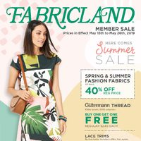 Fabricland - Member Sale - Here Comes Summer Sale Flyer