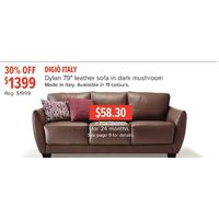 "Digio Italy Dylan 79"" Leather Sofa In Dark Mushroom"