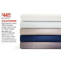 Glucksteinhome 600-Thread-Count 100% Supima Cotton Queen Flat Or Fitted Sheets