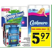 Cashmere Bathroom Tissue, Spongetowels, Scotties