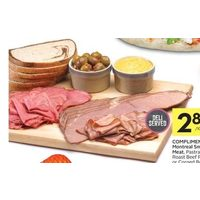 Compliments Montreal Smoked Meat, Pastrami, Roast Beef Round Or Corned Beef