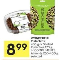 Wonderful Pistachios Or Shelled Pistachios Or Compliments Almonds