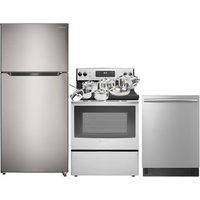 "Insignia 30"" Refrigerator; Electric Range; Dishwasher; 11-Piece Cookware Package"