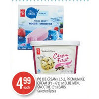 PC Ice Cream, Premium Ice Cream Or Blue Menu Smoothie Bars