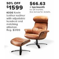 Kode Kevin Leather Recliner With Adjustable Headrest And Matching Ottoman