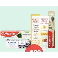 Colgate Essentials With Charcoal, Crest 3D White Charcoal Or Burt's Bees Natural Toothpaste, Or Colgate Bamboo Toothbrush