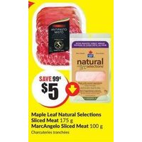 Maple Leaf Natural Selections Sliced Meat, MarcAngelo Sliced Meat