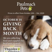Pet Valu - Paulmac's Pets - October is Giving Back Month Flyer