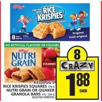 Kellogg's Rice Krispies Squares Nutri Grain or Quaker Granola Bars