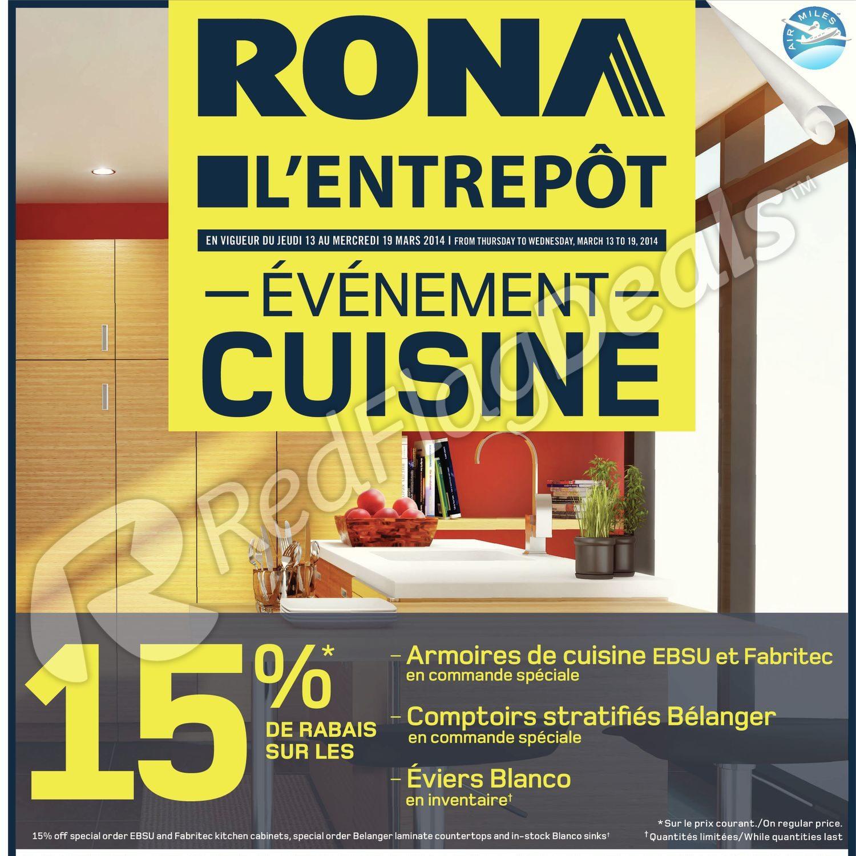 Rona Weekly Flyer Lentrepôt événement Cuisine Mar 13 19