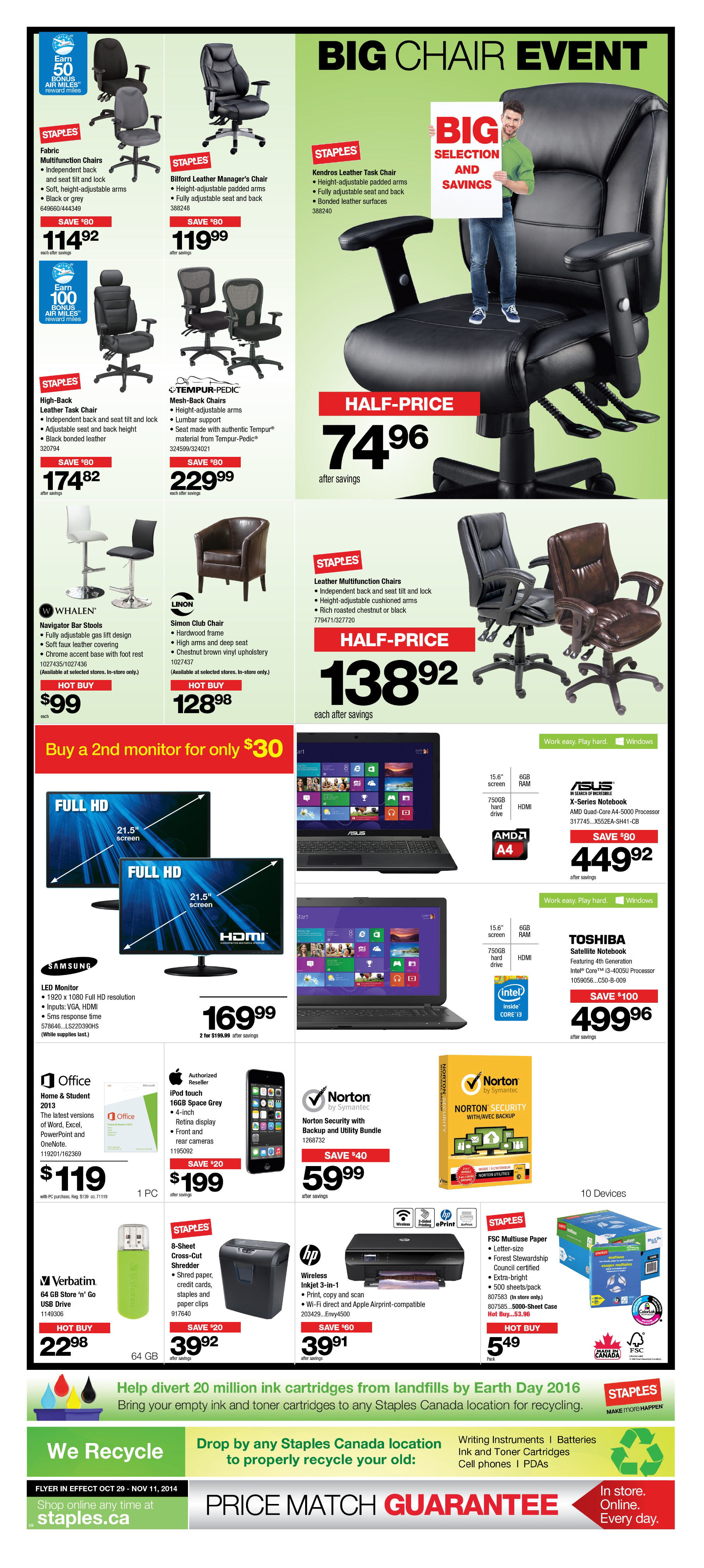 staples weekly flyer big chair event oct 29 nov 11