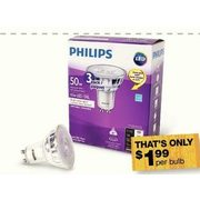 Philips 50W Equivalent LED GU10 Dimmable Glass Light Bulbs - $5.97