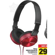 Sony MDRX310AP/B Headphones  - $29.97 ($20.00 off)