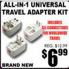 All-In-1 Universal Travel Adapter Kit - $6.99