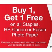 All Staples, HP, Cannon Or Epson Photo Paper  - BOGO Free
