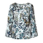 Floral Pleated Bell Sleeve Blouse - $14.97 ($34.93 Off)