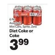 Mini Cans, Sprite, Zero Diet Coke Or Coke  - $3.99