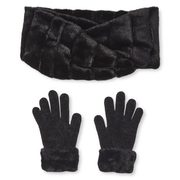 2-Piece Feather Knit Hat and Scarf Loop Set or 2-Piece Faux Fur Scarf Loop and Gloves Set - $20.00