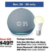 Amazon Echo Dot 4th Gen & Smart Bluetooth LED Soft White A19 Bulb, Nov.20-30 Only - $49.99 ($45.00 off)
